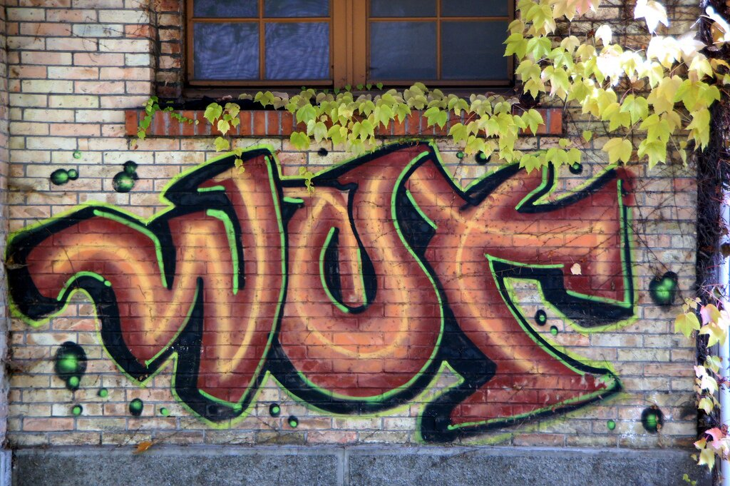 Grafitti in rot an einer Hauswand: WUT