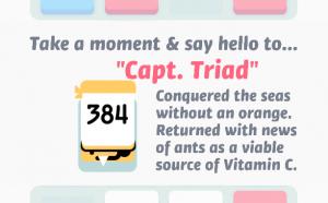 """Take a moment & say hello to """"Capt. Triad"""" – eine weiße Karte mit 384 in schwarz und unten einem kleinen, gelben Gesicht mit Augenklappe und einem weißen langen Eckzahn."""