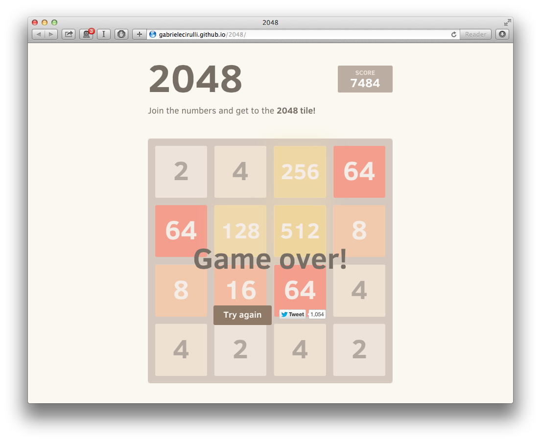 2048: Game Over