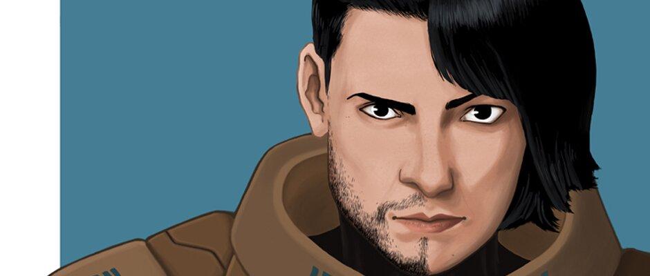 Vor einem blauen Hintergrund ist eine Person, die linke Gesichtshälfte hat einen Bartschatten, die rechts längere Haare und weichere Gesichtszüge.