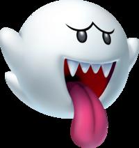 Ein weißer Geist mit vier Fangzähnen streckt die Zunge raus.