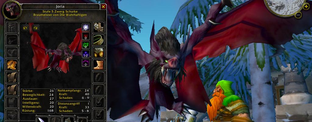 """Screenshot aus """"World of Warcraft"""": Eine dunkle Fledermaus fliegt vor einer verschneiten Landschaft"""