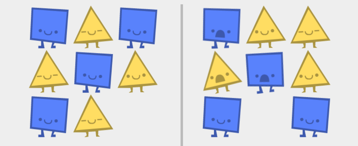 Auf grauem Hintergrund sind gelbe Dreiecke und blaue Quadrate zu sehen