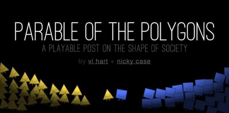 Auf schwarzem Hintergrund sind rechts gelbe Dreiecke und links blaue Quadrate, jeweils mit Gesichtern und Füßen