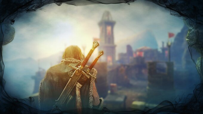 Vor einem Kirchturm und einer Stadt ist ein Mann von hinten zu sehen. Auf seinem RÜcken trägt er 2 Schwerter.