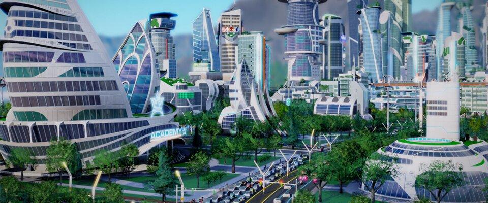 Eine futuristische Stadt mit Wolkenkratzern, dazwischen eine mehrspurige Straße, eingesäumt von Bäumen.