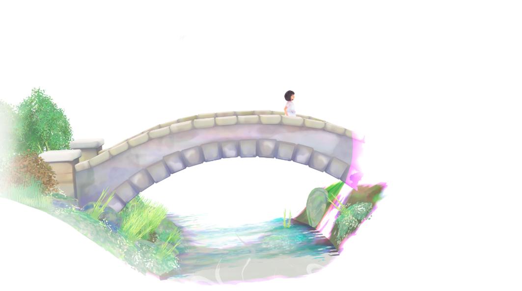 Vor weißem Hintergrund ist eine Brücke mit einem kleinen Mädchen zu sehen.