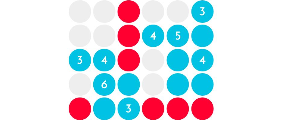 Blaue, rote und graue Kreise auf weißem Hintergrund
