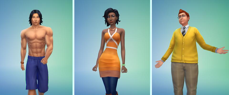 """Drei Avatare: Rechts ein muskulöser """"asiatischer"""" Mann in Badehose, in der Mitte eine schlanke Schware Frau im orangenen Minikleid, rechts ein weißer Mann mit gelbem Cardigan und grauer Hose"""