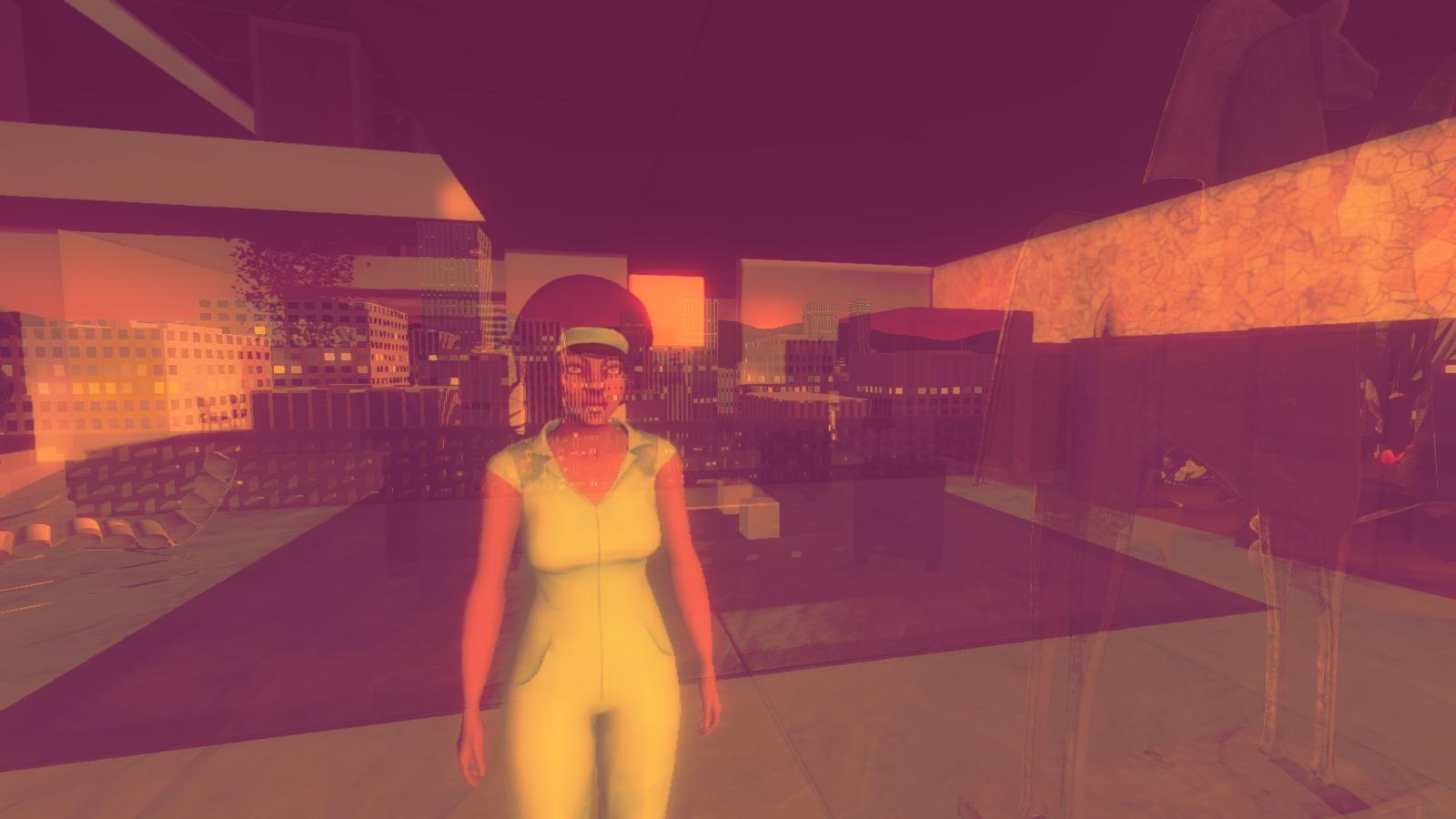 Eine schwarze Frau spiegelt sich in einer Fensterscheibe, draußen ist eine Stadt im Sonnenuntergang zu sehen.