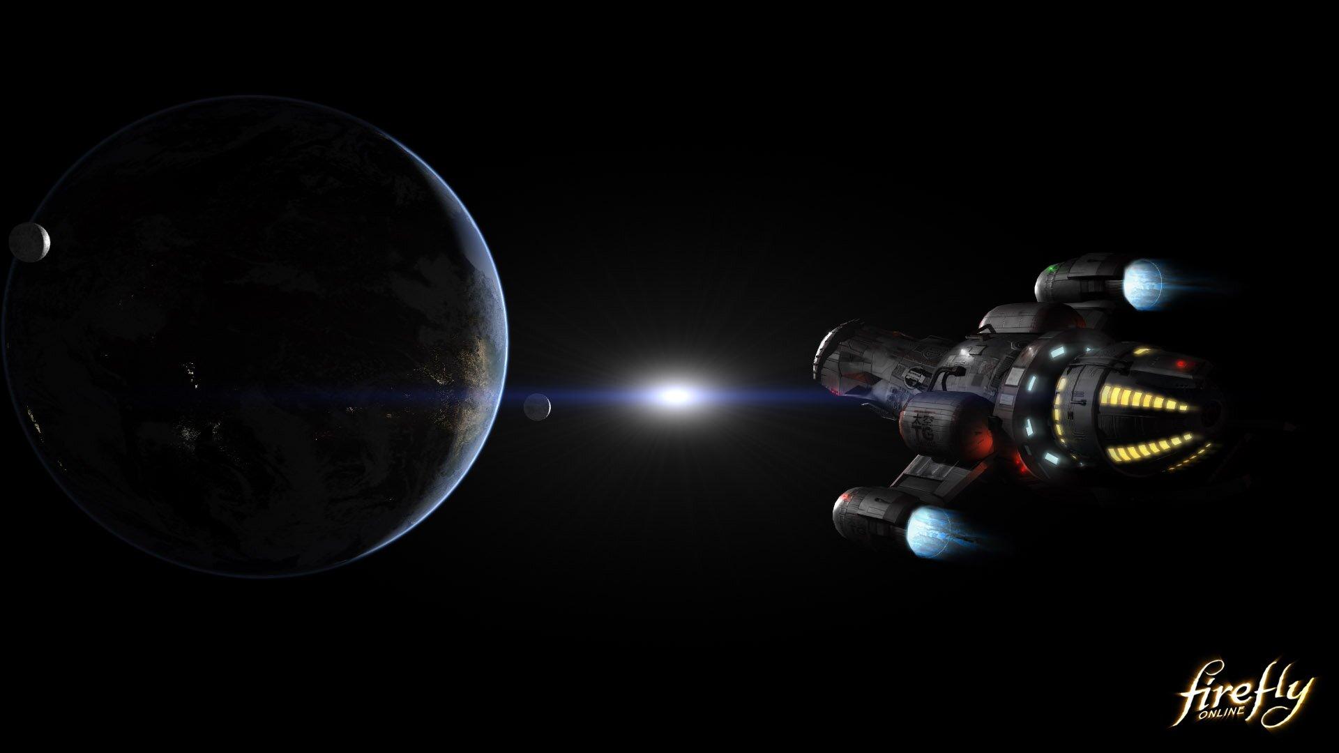 Die Firefly fliegt von einem Planeten weg