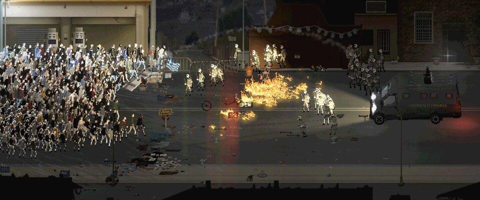 Screenshot einer Auseinandersetzung. In der Mitte einer Straße brennt es.