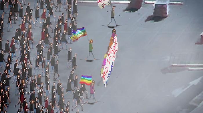 Menschen demonstrieren auf einer Straße und halten Regenbogenflaggen hoch.