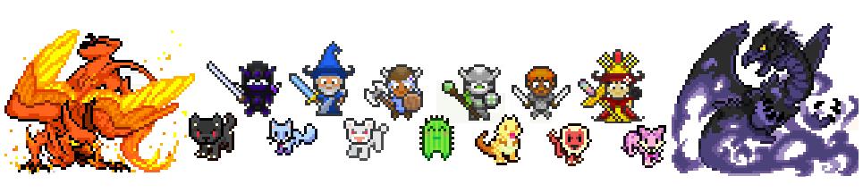 Verschiedene Charaktere aus Habitica